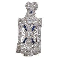 Edwardian Platinum Diamond Sapphire Pendant Brooch 2.85 Carats