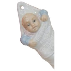 Lladro DAISA Spain Baby Boy Blue Girl Pink First Xmas Christmas 1991 Ornament