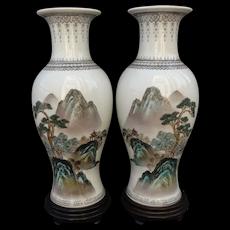 """Pair Vintage Chinese Porcelain Mirror Vases Landscape Calligraphy 12.5"""" Jing De Zhen"""