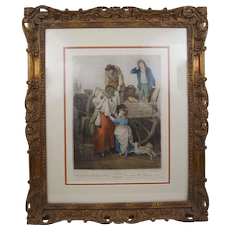 Old Prints Hand Colored Stipple Engraving Fresh Gathered Peas from Cries of London Plate No.7 Neoclassical Style Frame