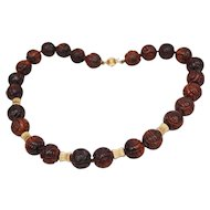 Chinese Hand Carved Bull's Eye Tiger Eye Beaded Necklace 14K Longevity Pattern