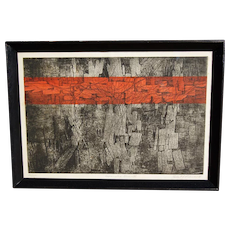 Mid Century Modern Abstract Lithograph Artist Proof Limited Edition Pencil Signed Robert F. Leonardo C1961