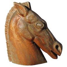 Vintage Hand Carved Wooden Stallion Horse Head Sculpture Signed by Artis JW