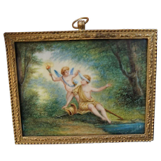 C1850 French Miniature Painting in Bronze Ormolu Dome Glass Frame