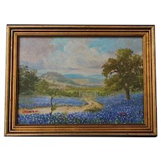 Spring Landscape Texas Bluebonnet Hill Country Small Oil Painting on Board Artist Signed 8 x 6 inches