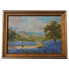 Spring Landscape Texas Bluebonnet Hill Country Small Oil Painting on Board