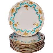 """Set 8 Enamel Gilt Flower Minton Dinner Luncheon Plates for D.B. Bedell 9"""" C1910"""