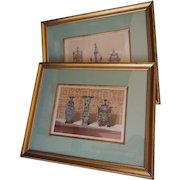 Antique Book Prints - Rare Framed C1863 J B Waring Chromolithographs Chinese Enamel and French Silver