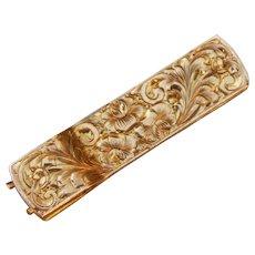 Art Deco 14K Yellow Gold Men's Tie Clip Etched Flower Pattern Wordley Allsopp & Bliss WAB