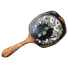 Victorian Hand Painted Flowers Shaker Style Hand Held Vanity Mirror 11.5