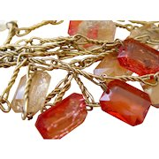 Vintage Christmas Tree Garland Twisted Metal and Large Lucite Drops Mid Century
