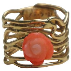 Vintage C1956 Laced Free Form Hand Crafted Coral Rose Wide Band Ring size 5.5 - 6