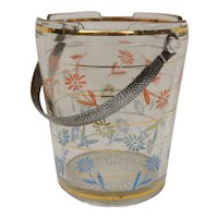 Mid Century Ice Bucket with Chrome Textured Handle Daisy Pattern Cambridge Retro Barware