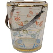 Mid Century Ice Bucket with Chrome Textured Handle Daisy Pattern Cambridge Retro Barware