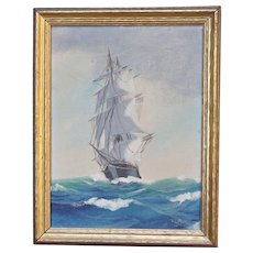 Small Oil Painting on Board American Frigate Seascape Impressionist William Snyder (1926-2000)