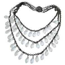 Art Deco Three Row Faceted Tear Drop Crystal Bib Necklace