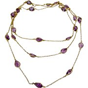 Art Deco 18K Yellow Gold Amethyst Long Flapper Style Necklace 52 inches
