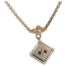Very Rare Victorian 14K Rose Gold Platinum Mourning Hair Locket Necklace Ruby Sapphire, Diamond and Natural Pearls