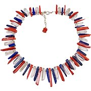 Patriotic Necklace Blue Lapis, Red Coral and Clear Quartz Spike Necklace
