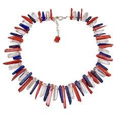 Patriotic Necklace Blue Lapis, Red Coral and Clear Quartz Spike Necklace July 4th
