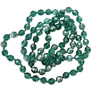 Very Rare Long Strand Emerald Green Comet Argent Light CAL Swarovski Crystal Necklace 39 Inches