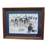 "Vintage Oil Painting on Canvas Walking the Dog on a Snowy Farm 19.5"" X 15"" Folk Art"