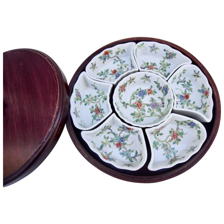 Vintage Chinese Porcelain Sweet Meat Dish Rosewood Lazy Susan  sc 1 st  Ruby Lane & Vintage Chinese Porcelain Sweet Meat Dish Rosewood Lazy Susan : Five ...