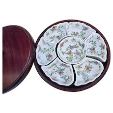 Vintage Chinese Porcelain Sweet Meat Dish Rosewood Lazy Susan