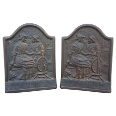 Alden and Priscilla Cast Copper Bookends , Connecticut Foundry, Copyright 1928 Mayflower Pilgrim
