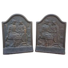 Alden and Priscilla Cast Copper Bookends , Connecticut Foundry, Copyright 1928 Mayflower Pilgrim