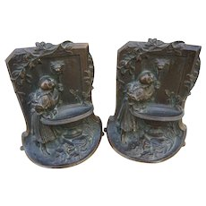 Art Nouveau Pair Solid Bronze Girl Drinking From Wall Fountain Bookends