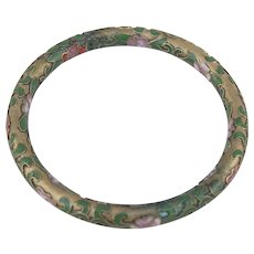 Vintage Chinese Champlevé Cloisonne Thin Bangle Bracelet for Stacking