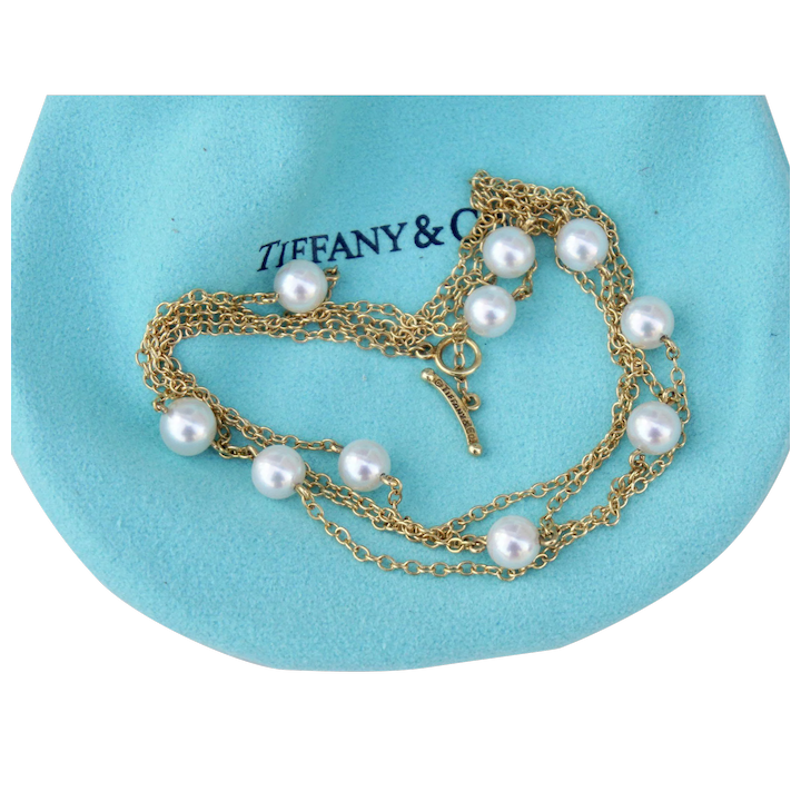 93b2f42d157d4 Early Tiffany & Co. Elsa Peretti 18K Yellow Gold Pearl By the Yard Cultured  Salt Water Necklace 28 Inches Toggle Clasp