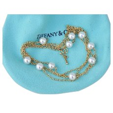 Early Tiffany & Co. Elsa Peretti 18K Yellow Gold Pearl By the Yard Cultured Salt Water Necklace 28 Inches Toggle Clasp