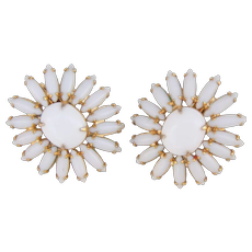 Napier Milk Glass Navette Sunflower Daisy Clip Earring Mod Retro