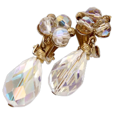 Pair Vintage Aurora Borealis AB Crystal RhineStone Tear Drop Clip On Earrings