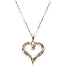 10K Yellow White Gold Diamond Heart Pendant for Necklace