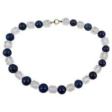 Art Deco Crystal and Sodalite Necklace with Gold Filled Bolt Ring Closure