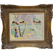 Mid Century Modern Oil Painting on Board Woman with Parasol