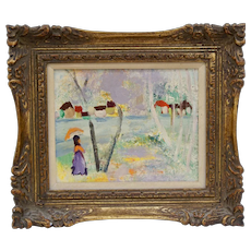 KOPELL: Mid Century Modern Oil Painting on Board Woman with Parasol