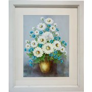 Jeanne Livulpi (1940-1980) Oil Painting on Canvas Still Life Daisies and Forget-Me-Not
