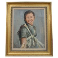 Oil Painting on Canvas Beautiful Chinese Young Lady Portrait by K.K. Wong (1951-)