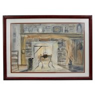 Original Watercolor by D. Thompson (-1870) Old Fireplace 26 X 19""