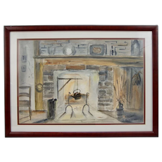"""Original Watercolor by D. Thompson (-1870) Old Fireplace 26 X 19"""""""
