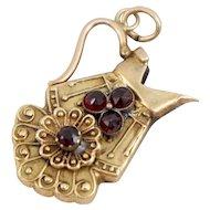 Victorian 14K Gold Rose Cut Garnet Pitcher Jug Pendant or Charm Etruscan Style