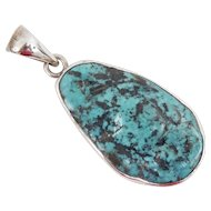 Charles Albert Extra Large Sleeping Beauty Turquoise 950 Fine Sterling Silver Pendant