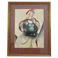 Mid Century Abstract Framed Watercolor Lady with Red Hat and Cape Anfang