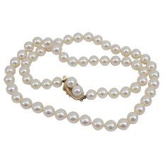 High Quality 14K Yellow Gold Japanese Cultured Pearls 6.5 mm 18 inches.