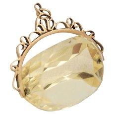Huge English 9 CT Gold Lemon Citrine Watch Fob Pendant