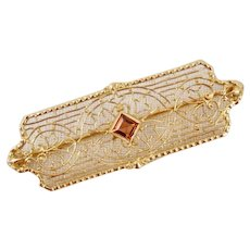 Art Deco 14K Yellow Gold Filigree Pin Brooch Pink Tourmaline